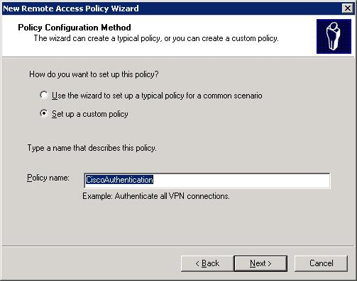 Creating a custom remote access policy